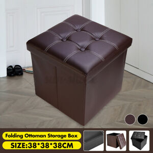 Footstool Folding Ottoman Storage Bench Faux Leather Collapsible Cube Foot Rest