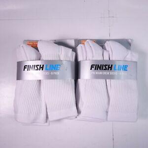 12 Pairs (Two 6-Packs) Finish Line Premium Crew Socks White 89938