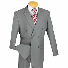 LUCCI Men's Light Gray Double Breasted Classic Fit Poplin Polyester Suit NEW