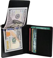 Black Genuine Leather Men's Bifold Money Clip Credit Card Wallet