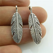 13996*20PCS Vintage Silver Tone Alloy Feather Pendant Charms Jewelry Making