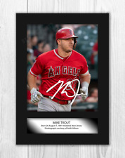 More details for mike trout (2) los angeles angels a4 signed mounted poster. choice of frame.