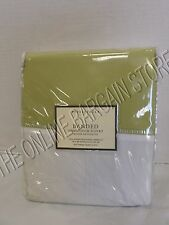 Pottery Barn Banded Hemstitch Bed Duvet Cover Full Queen FQ Green 400 TC