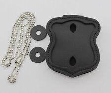 Boston Police Badge Holder Leather Clip On Belt Clip/Neck Chain