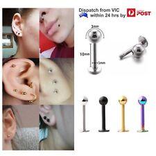18g Stainless Steel 10mm Labret Monroe Tragus Ear Lip Ring Bar Stud 3mm Ball