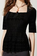 MEADOW RUE Anthropologie Continental Peplum Top black velvet burnout pinup XS