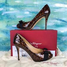 $890 SALVATORE FERRAGAMO Tina Brown Tortoise Quilted Patent Leather Pumps SZ 11