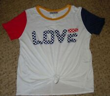 Women's Clothing Top Shirt 1X White Tie Love by Morning Kisses of NY NWT
