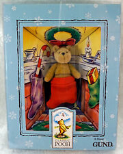 Boxed Gund Classic Pooh Miniature Jointed Bear in Stocking Hung by Chimney