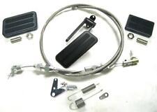 "BLACK Aluminum Gas Pedal + Brake Clutch Pad w/ 24"" SS Cable Bracket & Spring Set"