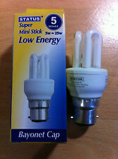 5w 25w watt BC B22 Push In Energy Saver Mini Stick CFL Bulb Lamp Warm White x 2