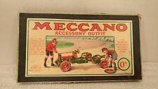 Antique Meccano Accessory Outfit 0a & Box - Tins - Extras! Dunlop Tires! Art!