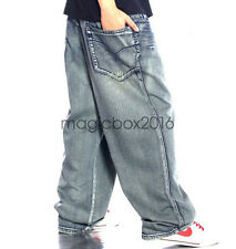 Mens Casual Pants Hip Hop Denim Long Baggy Loose Skateboard Jeans Trousers