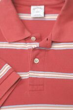 Brooks Brothers Uomo Rosa & Blu Righe Mesh Cotone Casuale Polo L LARGE