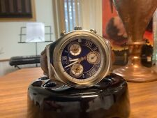 swatch mens irony chronograph watch 2007 on navy blue dial new batt beautiful!