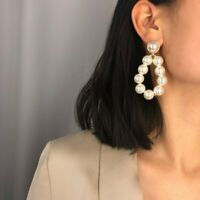 Fashion Women Pearl Geometric Circle Statement Drop Earrings Dangle Wedding Gift