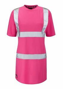 Work Kit Girl Womens - See Me Hi Vis Pink Safety Tee Shirt - Pink