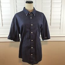 SOUTHERN PINES Men's Button Down Short Sleeve Navy Size XL
