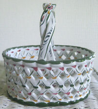 Vintage Ceramic Basket with Handle Made in Portugal Hand Painted White & Green