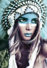 Native American Indian Headdress Girl Blue Art Quality Canvas Print A3