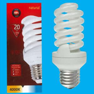 6x 20W (=100W) CFL 4000K Cool White Spiral ES E27 Edison Screw Light Bulb Lamp