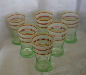 vintage set green glass tumblers frosted glass coloured trims x6