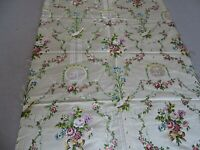 """Antique French Ivory Floral Silk Brocade Textiles Fabric  26"""" x 35 """""""