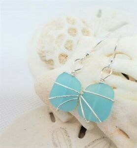 Sea glass jewelry Petite TURQUOISE BLUE beach glass hand-wrapped silver earrings
