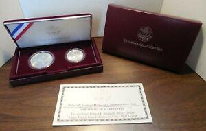1998-S Kennedy Collector's Set- UNC Silver Dollar & Matte Silver Half W/ Box+COA