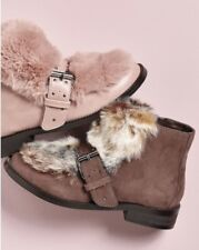 New🌹Next🌹Size 4 Girls,Ladies Mink  Faux Fur Buckle Boots Winter Warm Day Wear