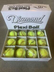 "Diamond Flexi Ball 9"" Baseballs DFX-9YL Soft Touch Core Dozen Yellow"