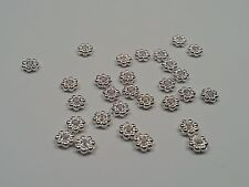 20 Tibetan Style Flower Spacer Beads, Silver, 4x2mm, Hole 1mm