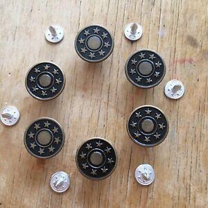 Jean Studs Buttons X 6 Tibetan 17mm Button And Back Stud Star Design  -new