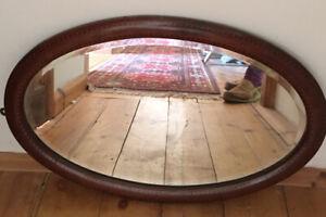 Edwardian Arts & Crafts Style Oval BEVELED EDGED Mirror & string Inlaid MIRROR