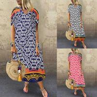 ZANZEA Womens Short Sleeve V-Neck Printed Midi Dress Casual Loose Kaftan Dresses