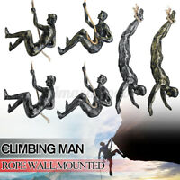 Handmade Global Climbing Resin Man Rope Wall Mounted Art Sculpture Climber 	  ₪