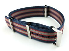 20mm BLUE&RED 007 James Bond NATO STRAP & CLASP fit OMEGA Watches + Pind/Tool