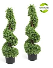 2 x Artificial Spiral Boxwood (Buxus) Trees with Wooden Stem 90cm (3ft)