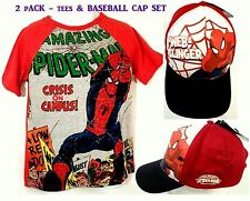 2 Pack - MARVEL SpiderMan Boy's Graphic Tees (size: 5/6) & Baseball Cap(4-10)NEW