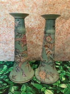 Pair of 2 Mint Green Pastel Porcelain China Asian Candlesticks Birds Flowers
