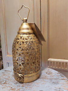 ANTIQUE GOLD FINISH CUTWORK LANTERN HAND CRAFTED IN INDIA - FAIRTRADE