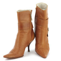 Dior boots short leather Auth used T17452