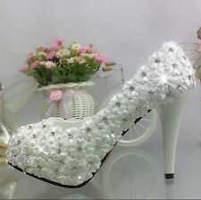 "3""/4"" white light ivory lace crystal Wedding shoes Bridal heels pumps size 5-10"