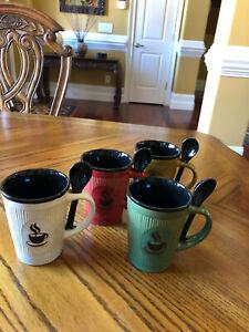 COFFEE MUG AND SPOON SET FOR 4. MULTI-COLOR
