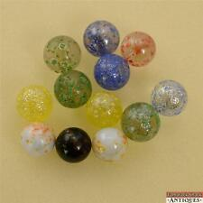 Lot of 12 Marbles Spotties Transparent Opaque Iridescent Imperial Jewels Colors