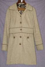 Nell Couture Liquid Wool Lined Trench Jacket Coat 70s Style Leather Trim 10