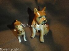 2 Vintage Ceramic Porcelain Boxer Dogs Pups Puppies