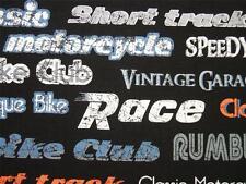 "Retro Rider Biker Words Motorcycle Race Windham Fabric 20"" REMNANT"
