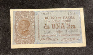 1 LIRA BUONO DI CASSA EFFIGE VITTORIO EMANUELE III 21/09/1914 REGNO PERIZIATA