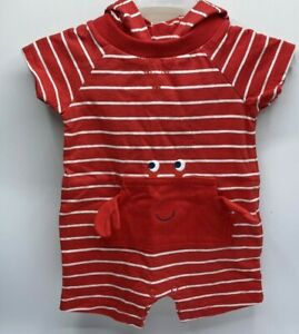Infant Boy's Size 3M 9M 12M Carters Summer Romper Outfit Red Crab Hooded $18V